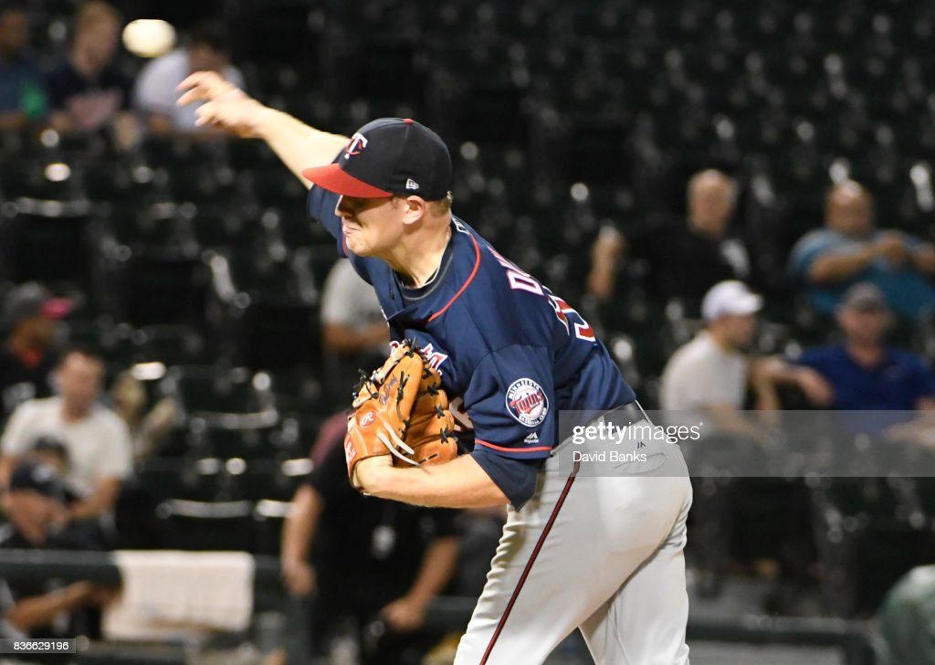 Tyler Duffey #56 of the Minnesota Twins pitches against the Chicago White Sox during the ninth inning in game two of a doubleheader on August 21, 2017 at Guaranteed Rate Field in Chicago, Illinois. The Twins defeated the White Sox 10-2.
