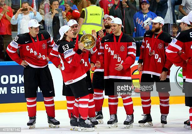 Tyler Ennis of Canada lifts the trophy after winning the IIHF World Championship gold medal match between Canada and Russia at O2 Arena on May 17...