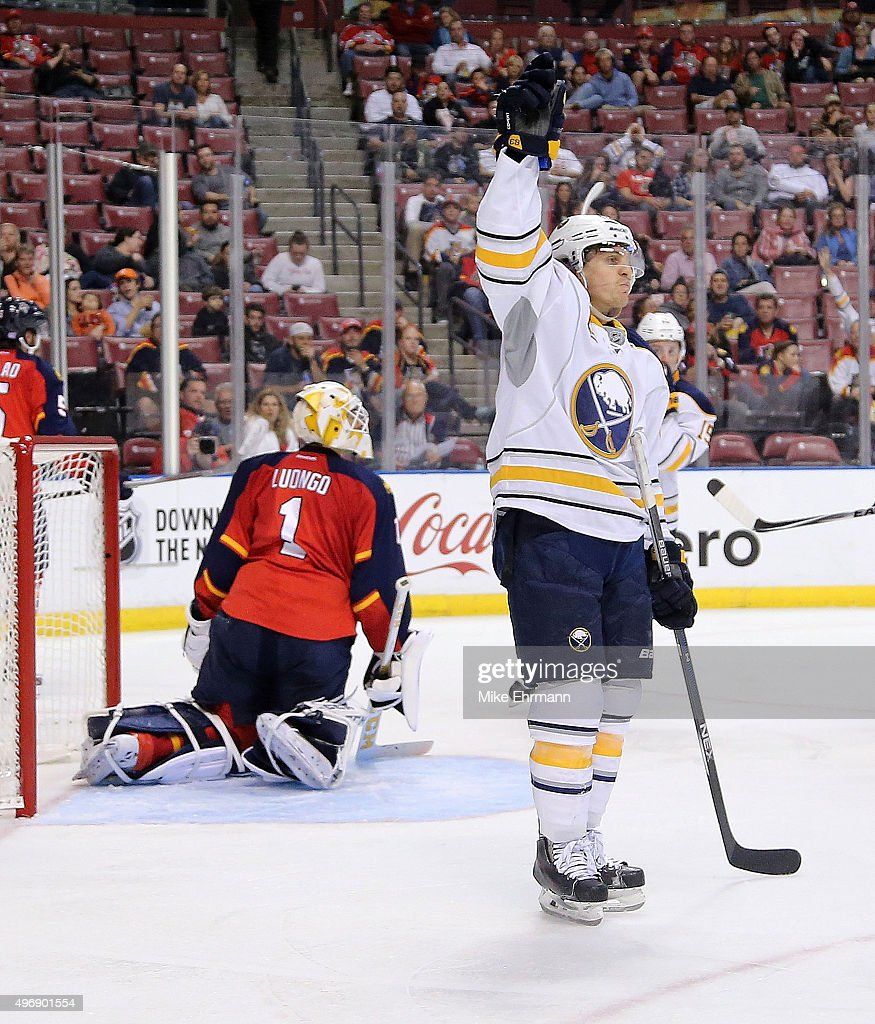 Tyler Ennis #63 of the Buffalo Sabres celebrtaes scoring a goal on Roberto Luongo #1 of the Florida Panthers during a game at BB&T Center on November 12, 2015 in Sunrise, Florida.