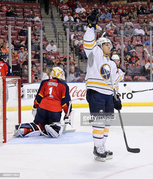 Tyler Ennis of the Buffalo Sabres celebrtaes scoring a goal on Roberto Luongo of the Florida Panthers during a game at BBT Center on November 12 2015...