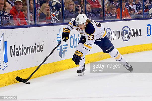 Tyler Ennis of the Buffalo Sabres controls the puck during the game against the Columbus Blue Jackets on April 10 2015 at Nationwide Arena in...