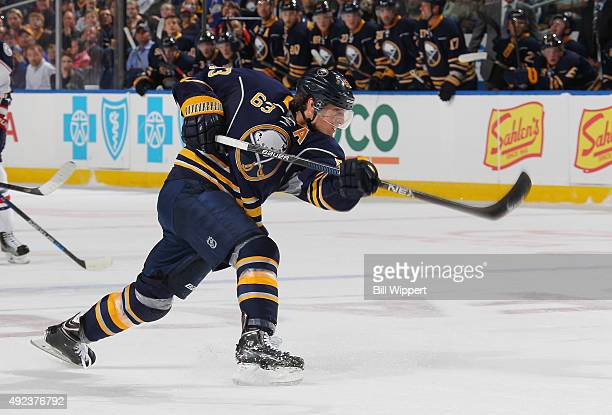 Tyler Ennis of the Buffalo Sabres fires a shot during his game against the Columbus Blue Jackets on October 12 2015 at the First Niagara Center in...