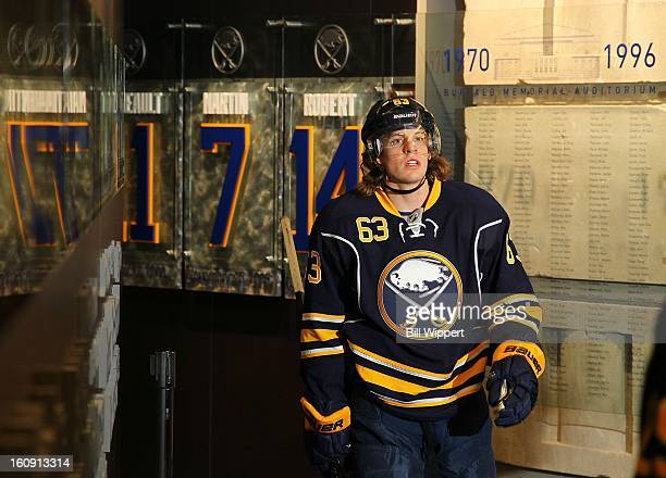 Tyler Ennis of the Buffalo Sabres heads to the locker room before playing the Florida Panthers on February 3 2013 at the First Niagara Center in...