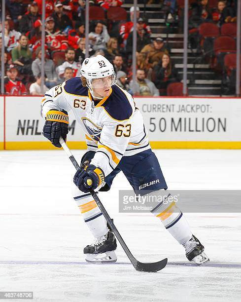 Tyler Ennis of the Buffalo Sabres in action against the New Jersey Devils at the Prudential Center on February 17 2015 in Newark New Jersey The...