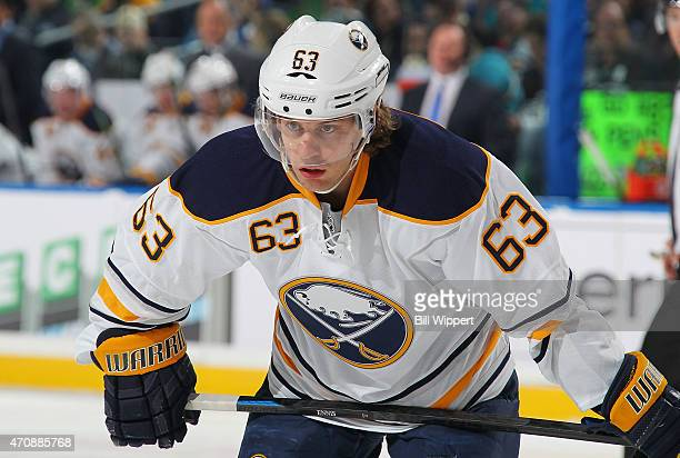 Tyler Ennis of the Buffalo Sabres prepares for a faceoff against the Pittsburgh Penguins on April 11 2015 at the First Niagara Center in Buffalo New...