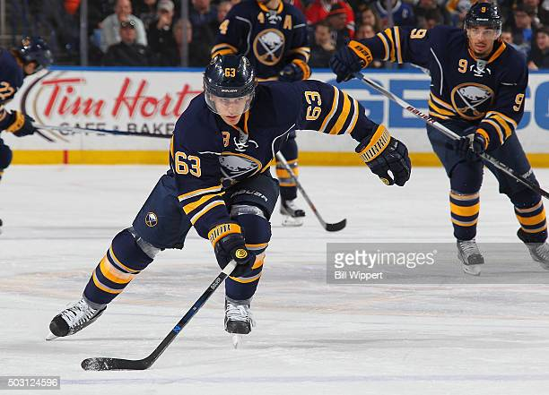Tyler Ennis of the Buffalo Sabres skates against the Chicago Blackhawks during an NHL game on December 19 2015 at the First Niagara Center in Buffalo...