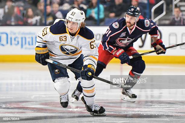 Tyler Ennis of the Buffalo Sabres skates against the Columbus Blue Jackets on April 10 2015 at Nationwide Arena in Columbus Ohio