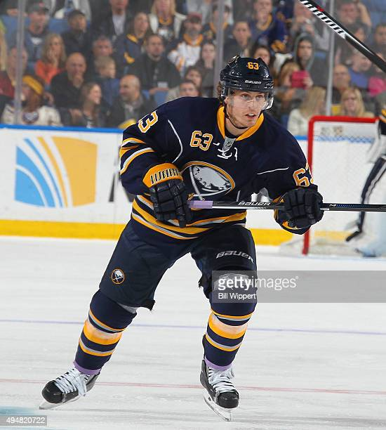 Tyler Ennis of the Buffalo Sabres skates against the New Jersey Devils during an NHL game on October 24 2015 at the First Niagara Center in Buffalo...