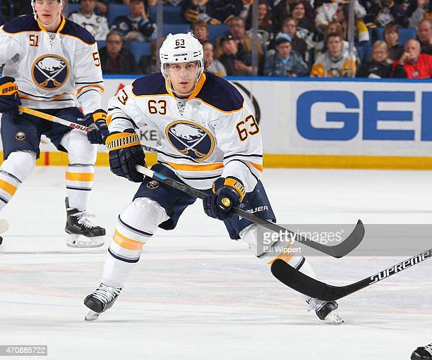 Tyler Ennis of the Buffalo Sabres skates against the Pittsburgh Penguins on April 11 2015 at the First Niagara Center in Buffalo New York