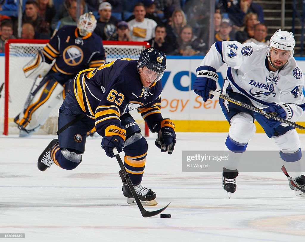 <a gi-track='captionPersonalityLinkClicked' href=/galleries/search?phrase=Tyler+Ennis+-+Ice+Hockey+Player&family=editorial&specificpeople=4754184 ng-click='$event.stopPropagation()'>Tyler Ennis</a> #63 of the Buffalo Sabres skates against the Tampa Bay Lightning on October 8, 2013 at the First Niagara Center in Buffalo, New York.