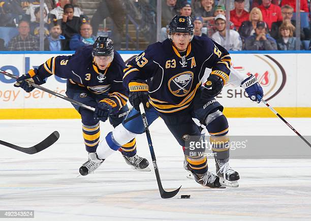 Tyler Ennis of the Buffalo Sabres skates against the Tampa Bay Lightning on October 10 2015 at the First Niagara Center in Buffalo New York