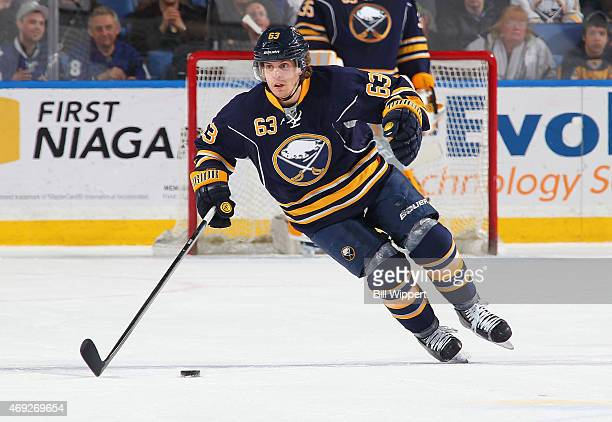 Tyler Ennis of the Buffalo Sabres skates against the Toronto Maple Leafs on April 1 2015 at the First Niagara Center in Buffalo New York