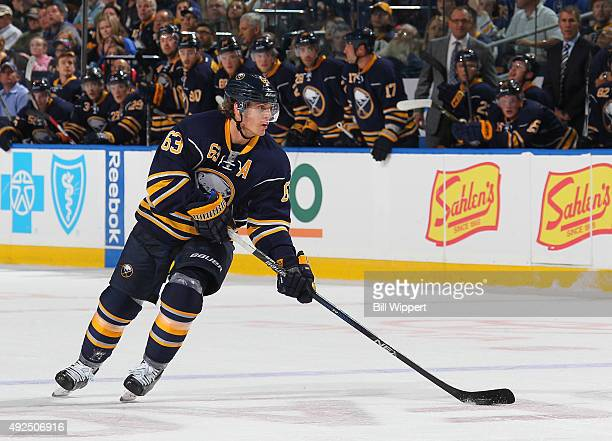 Tyler Ennis of the Buffalo Sabres skates with the puck against the Columbus Blue Jackets on October 12 2015 at the First Niagara Center in Buffalo...