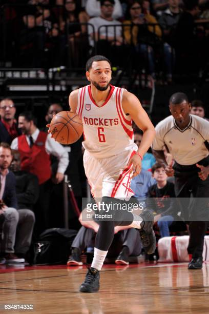 Tyler Ennis of the Houston Rockets handles the ball against the Phoenix Suns on February 11 2017 at the Toyota Center in Houston Texas NOTE TO USER...