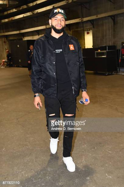 Tyler Ennis of the Los Angeles Lakers arrives before the game against the Chicago Bulls on November 21 2017 at STAPLES Center in Los Angeles...