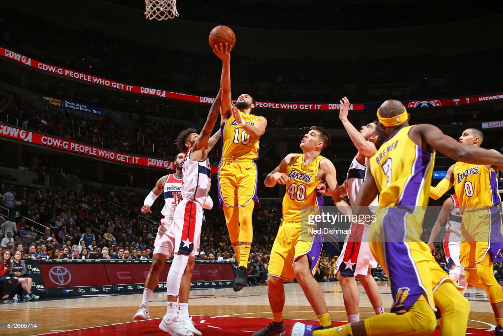 Tyler Ennis #10 of the Los Angeles Lakers goes to the basket against the Washington Wizards on November 9, 2017 at Capital One Arena in Washington, DC.