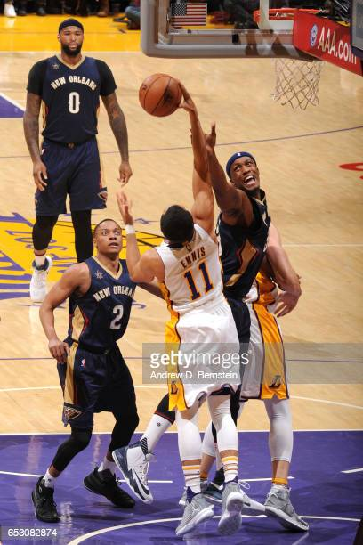 Tyler Ennis of the Los Angeles Lakers grabs the rebound against the New Orleans Pelicans on March 5 2017 at STAPLES Center in Los Angeles California...