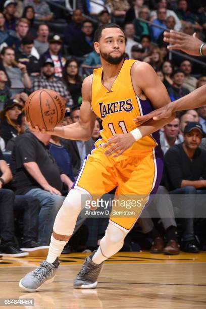 Tyler Ennis of the Los Angeles Lakers handles the ball against the Milwaukee Bucks on March 17 2017 at STAPLES Center in Los Angeles California NOTE...