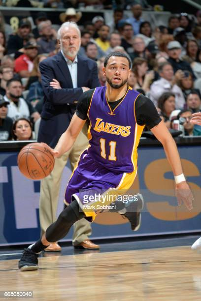 Tyler Ennis of the Los Angeles Lakers handles the ball against the San Antonio Spurs on April 5 2017 at the ATT Center in San Antonio Texas NOTE TO...