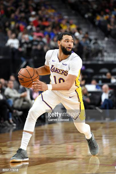 Tyler Ennis of the Los Angeles Lakers handles the ball against the Sacramento Kings during a preseason game on October 8 2017 at TMobile Arena in Las...