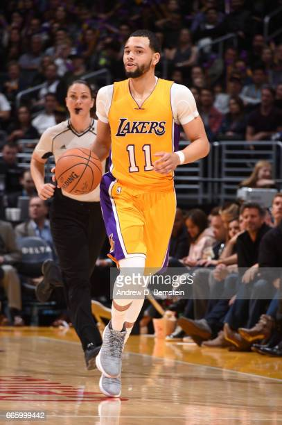 Tyler Ennis of the Los Angeles Lakers handles the ball during a game against the Sacramento Kings on April 7 2017 at STAPLES Center in Los Angeles...