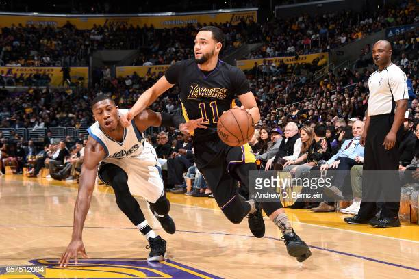 Tyler Ennis of the Los Angeles Lakers handles the ball during the game against the Minnesota Timberwolves on March 24 2017 at STAPLES Center in Los...