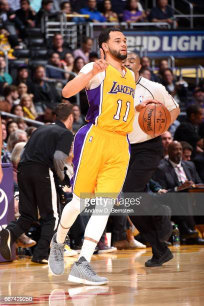 Tyler Ennis of the Los Angeles Lakers handles the ball during the game against the New Orleans Pelicans on April 11 2017 at STAPLES Center in Los...