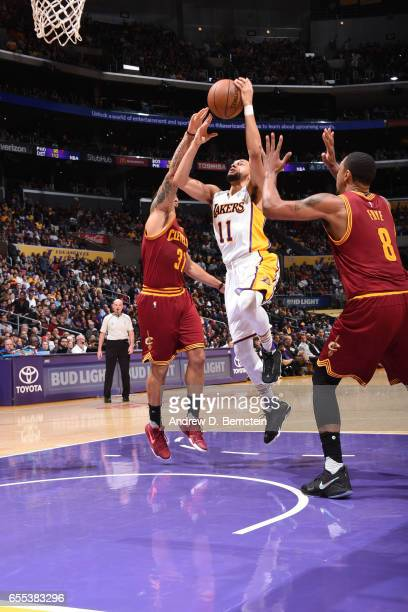 Tyler Ennis of the Los Angeles Lakers shoots the ball against the Cleveland Cavaliers on March 19 2017 at STAPLES Center in Los Angeles California...