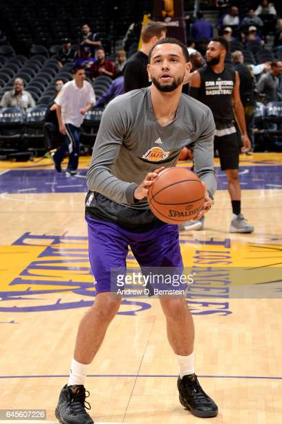 Tyler Ennis of the Los Angeles Lakers warms up before the game against the San Antonio Spurs on February 26 2017 at STAPLES Center in Los Angeles...
