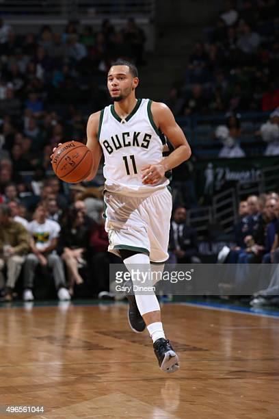 Tyler Ennis of the Milwaukee Bucks brings the ball up court against the Boston Celtics on November 10 2015 at the BMO Harris Bradley Center in...