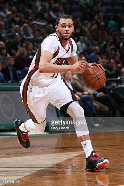 Tyler Ennis of the Milwaukee Bucks handles the ball against the Chicago Bulls in Game Six of the Eastern Conference Quarterfinals of the 2015 NBA...