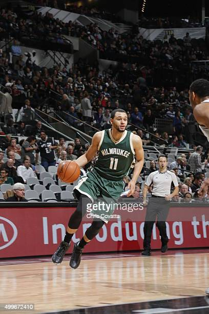 Tyler Ennis of the Milwaukee Bucks handles the ball against the San Antonio Spurs on December 2 2015 at the ATT Center in San Antonio Texas NOTE TO...