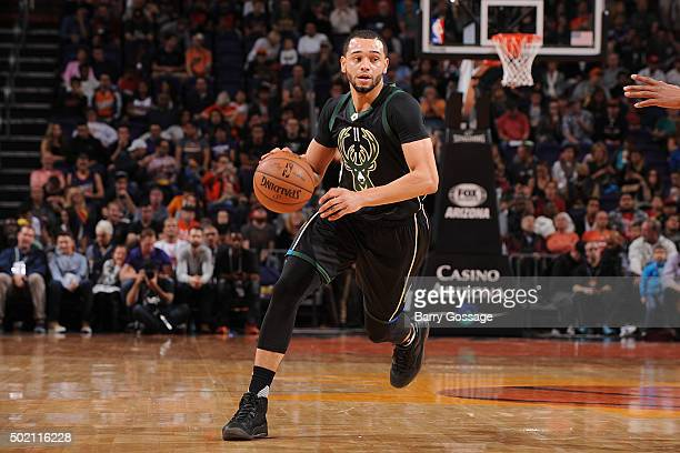 Tyler Ennis of the Milwaukee Bucks handles the ball during the game against the Phoenix Suns on December 20 2015 at US Airways Center in Phoenix...
