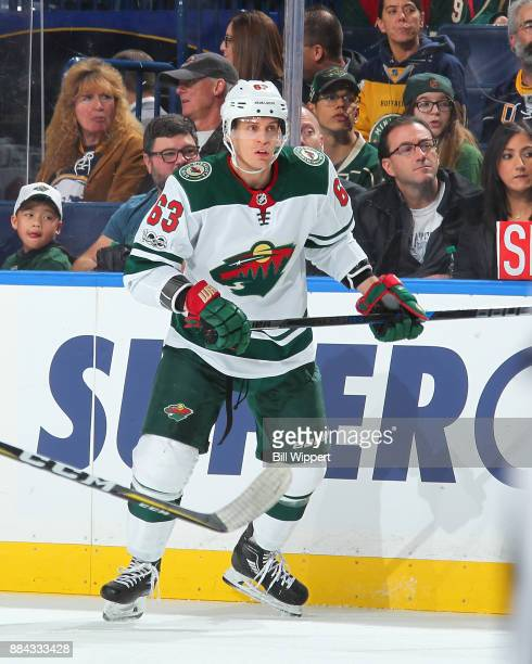 Tyler Ennis of the Minnesota Wild skates against the Buffalo Sabres during an NHL game on November 22 2017 at KeyBank Center in Buffalo New York