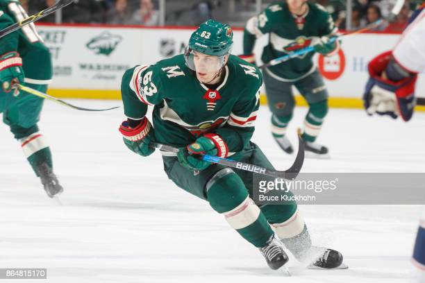 Tyler Ennis of the Minnesota Wild skates against the Columbus Blue Jackets during the game at the Xcel Energy Center on October 14 2017 in St Paul...