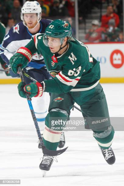 Tyler Ennis of the Minnesota Wild skates against the Winnipeg Jets during the game at the Xcel Energy Center on October 31 2017 in St Paul Minnesota