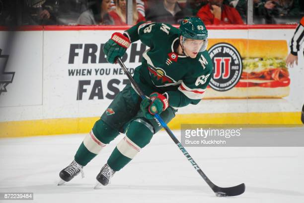 Tyler Ennis of the Minnesota Wild skates with the puck against the Chicago Blackhawks during the game at the Xcel Energy Center on November 4 2017 in...