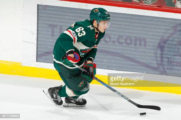 Tyler Ennis of the Minnesota Wild skates with the puck against the Philadelphia Flyers during the game at the Xcel Energy Center on November 14 2017...