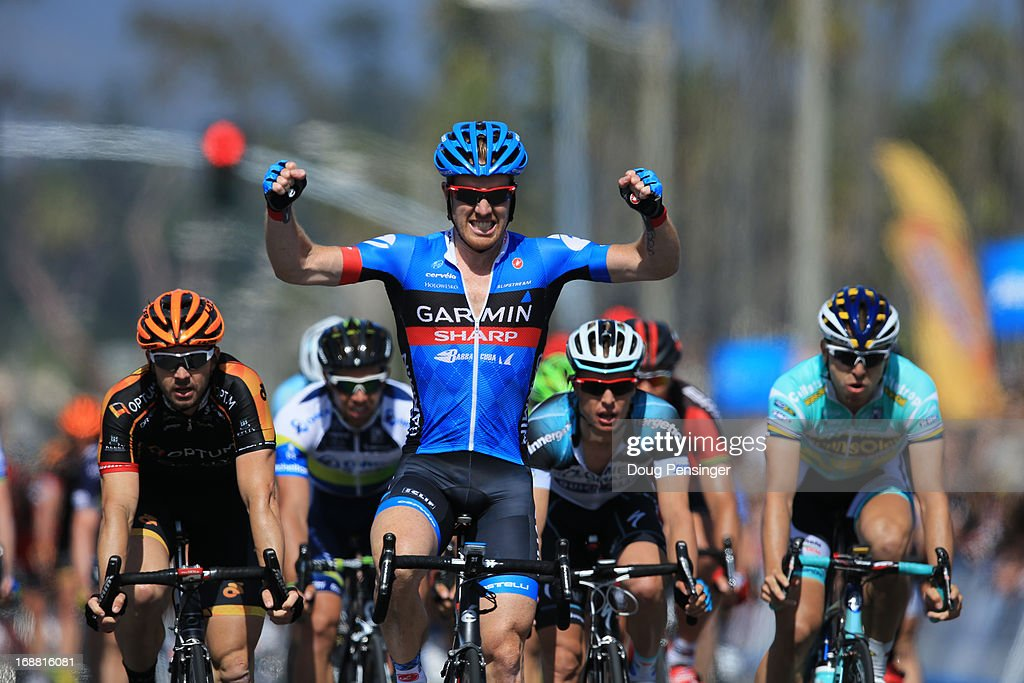 <a gi-track='captionPersonalityLinkClicked' href=/galleries/search?phrase=Tyler+Farrar&family=editorial&specificpeople=705251 ng-click='$event.stopPropagation()'>Tyler Farrar</a> of the United States riding for the Garmin Sharp celebrates winning stage four of the 2013 Amgen Tour of California from Palmdale to Santa Clarita on May 15, 2013 in Santa Barbara, California.