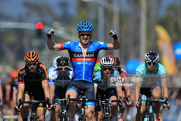 Tyler Farrar of the United States riding for the Garmin Sharp celebrates winning stage four of the 2013 Amgen Tour of California from Palmdale to...