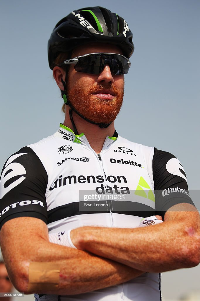 Tyler Farrar of The USA looks on at the start of stage one of the 2016 Tour of Qatar, a 176.5km road stage from Durkhan to Al Khor Corniche on February 8, 2016 in Durkhan, Qatar.
