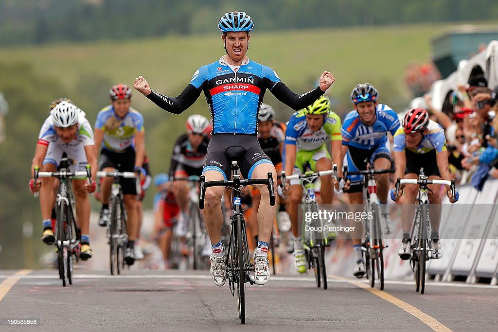 <a gi-track='captionPersonalityLinkClicked' href=/galleries/search?phrase=Tyler+Farrar&family=editorial&specificpeople=705251 ng-click='$event.stopPropagation()'>Tyler Farrar</a> of the USA riding for Garmin-Sharp celebrates as he crosses the finish line to win stage one of the USA Pro Challenge from Durango to Telluride on August 20, 2012 in Telluride, Colorado.