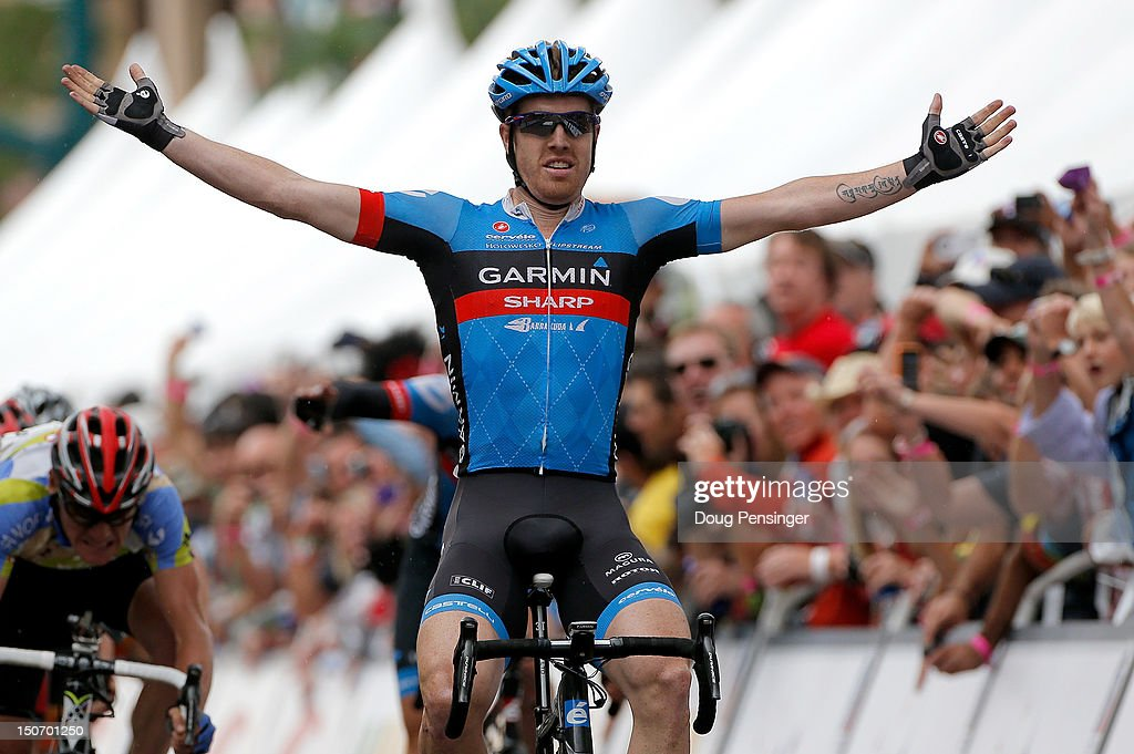 <a gi-track='captionPersonalityLinkClicked' href=/galleries/search?phrase=Tyler+Farrar&family=editorial&specificpeople=705251 ng-click='$event.stopPropagation()'>Tyler Farrar</a> of the USA riding for Garmin-Sharp celebrates as he wins stage five of the USA Pro Challenge from Breckenridge to Colorado Springs on August 24, 2012 in Colorado Springs, Colorado.