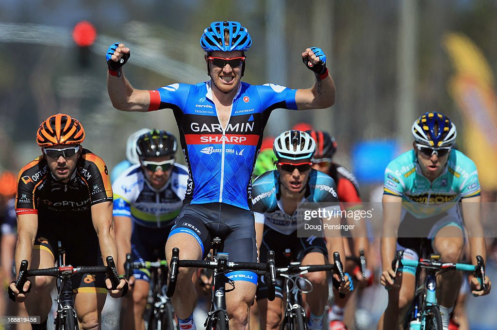 <a gi-track='captionPersonalityLinkClicked' href=/galleries/search?phrase=Tyler+Farrar&family=editorial&specificpeople=705251 ng-click='$event.stopPropagation()'>Tyler Farrar</a> of the USA riding for Garmin-Sharp celebrates his victory in Stage Four of the 2013 Amgen Tour of California from Santa Clarita to Santa Barbara on May 15, 2013 in Santa Barbara, California.