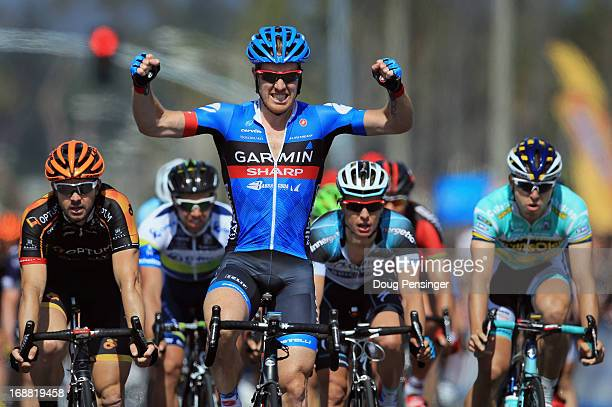Tyler Farrar of the USA riding for GarminSharp celebrates his victory in Stage Four of the 2013 Amgen Tour of California from Santa Clarita to Santa...