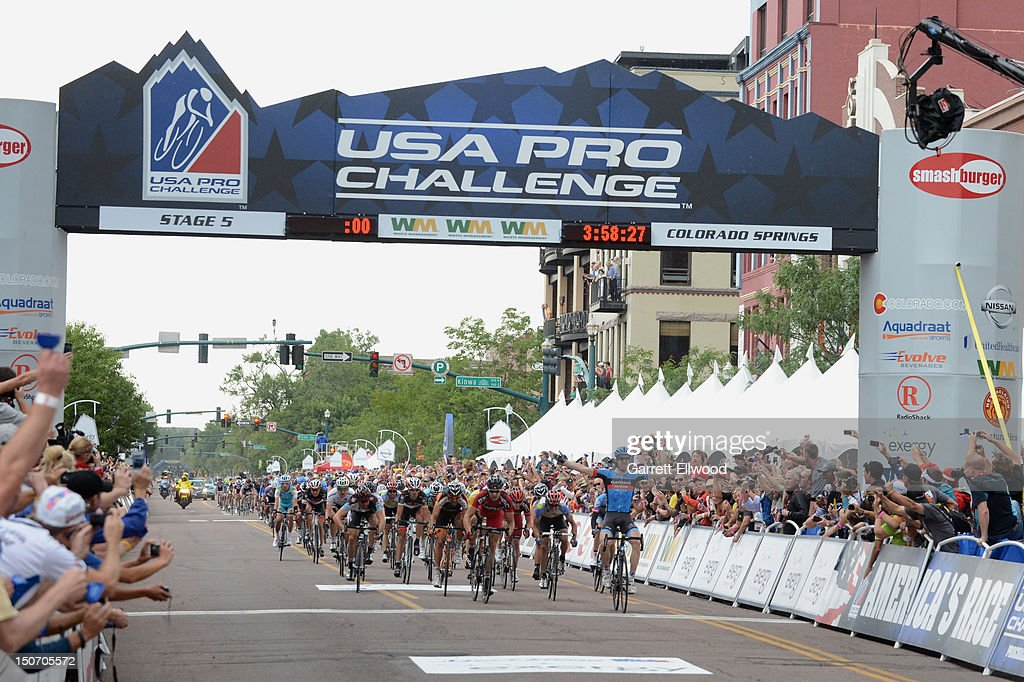 <a gi-track='captionPersonalityLinkClicked' href=/galleries/search?phrase=Tyler+Farrar&family=editorial&specificpeople=705251 ng-click='$event.stopPropagation()'>Tyler Farrar</a> riding for Garmin-Sharp celebrates as he wins Stage Five of the USA Pro Challenge from Breckenridge to Colorado Springs on August 24, 2012 in Colorado Springs, Colorado. Copyright 2012