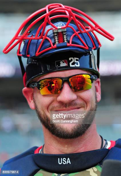 Tyler Flowers of the Atlanta Braves is interviewed after the game against the Cincinnati Reds at SunTrust Park on August 20 2017 in Atlanta Georgia