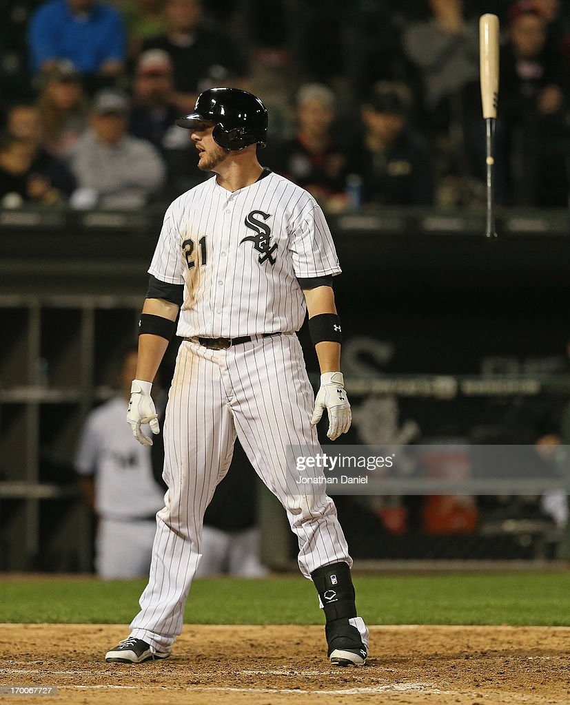 <a gi-track='captionPersonalityLinkClicked' href=/galleries/search?phrase=Tyler+Flowers&family=editorial&specificpeople=4217244 ng-click='$event.stopPropagation()'>Tyler Flowers</a> #21 of the Chicago White Sox flips his bat after striking out in the bottom of the 9th inning against the Oakland Athletics at U.S. Cellular Field on June 6, 2013 in Chicago, Illinois. The Athletics defeated the White Sox 5-4 in 10 innings.