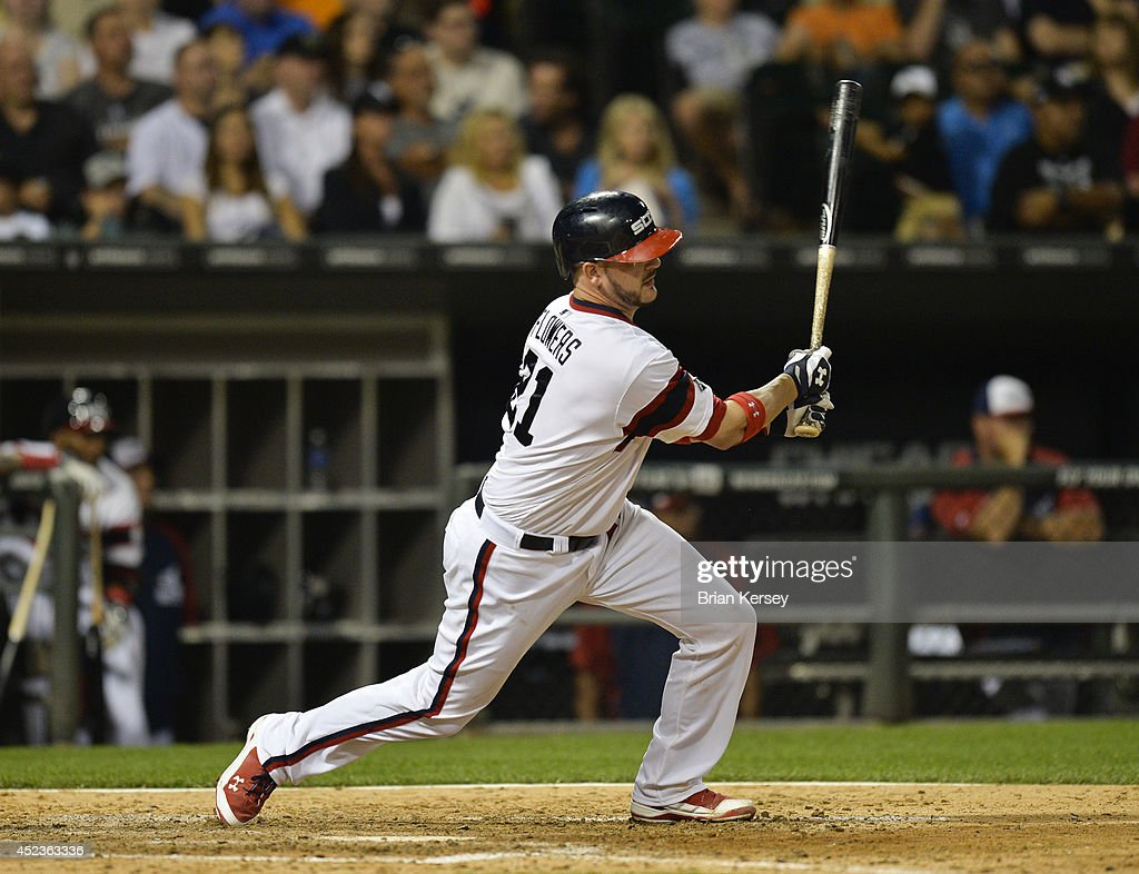 Tyler Flowers #21 of the Chicago White Sox follows through on an RBI double scoring teammate Alejandro De Aza during the seventh inning against the Houston Astros at U.S. Cellular Field on July 18, 2014 in Chicago, Illinois.