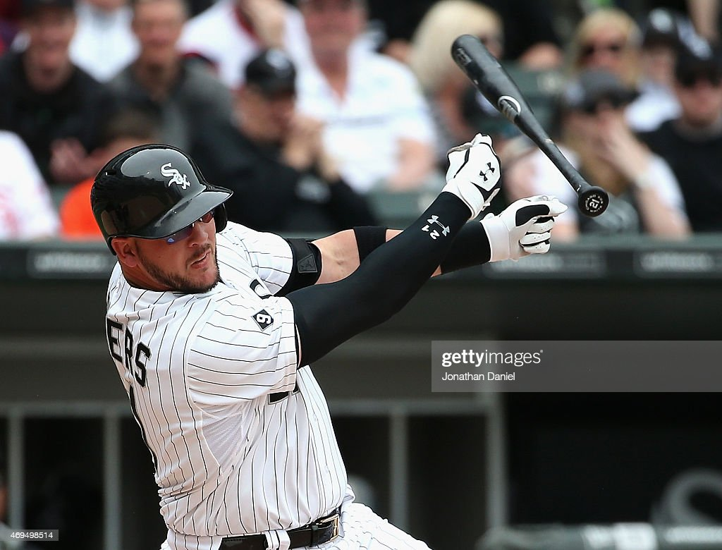 Tyler Flowers #21 of the Chicago White Sox looses his bat while swinging against the Minnesota Twins at U.S. Cellular Field on April 12, 2015 in Chicago, Illinois. The White Sox defeated the Twins 6-2.